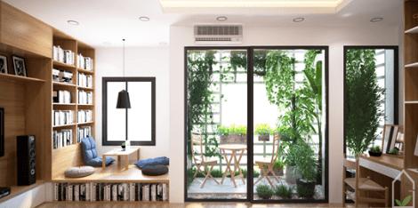 Ngôi nhà được phối cảnh mảng xanh, giúp tạo không khí thỏa mái, hòa mình với thiên nhiên
