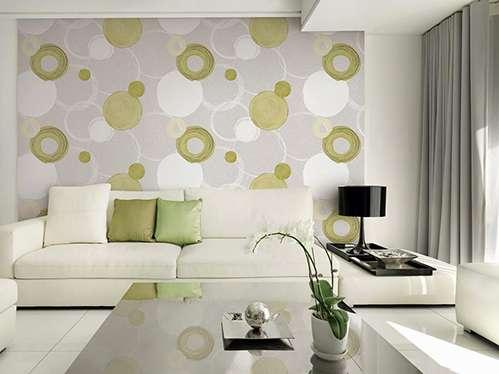 Trang trí phòng khách bằng vải dán tường